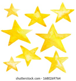 Hand painted set of stars in yellow ink watercolor illustration