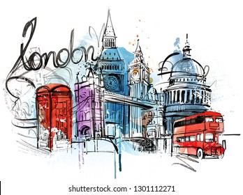 Hand painted Skyline from a London Collage. Isolated on white background.