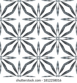 Hand painted tiled watercolor border. Black and white superb boho chic summer design. Textile ready mesmeric print, swimwear fabric, wallpaper, wrapping.  Tiled  watercolor background.