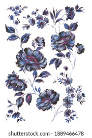 hand painted trailing detailed artistic floral composition with lush peonies, small wild flowers, leaves and buds. Blue and fuchsia flowers with black and white accents. Hight contrast flowers