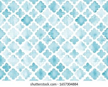 Hand painted turquoise blue watercolor flower like geometrical allover seamless Moroccan tile quatrefolio pattern in repeat