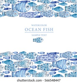 Hand painted underwater illustration. Seamless horizontal borders with fishes. Watercolor fishes on the white background. Ocean fish. Summer texture.