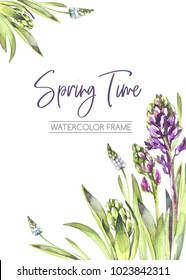 Hand painted vertical frame with Hyacinths flowers and leaves. Spring watercolor illustration in violet shades. Botanical texture. Can be used for a poster, printing on fabric, wedding desings. Nature