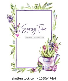 Hand painted vertical frame with Hyacinths flowers, leaves and watering can. Spring rustic watercolor illustration in violet shades. Horticulture hobby. Can be used for a poster, wedding desings
