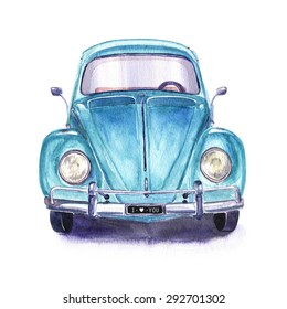 Hand painted vintage blue car. Watercolor illustration.