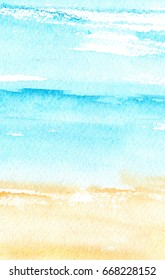 hand painted watercolor abstract beach, background for summer design