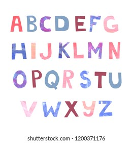 hand painted watercolor and acrylic alphabet letters in bright violet blue and pink colors