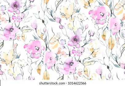 Hand painted watercolor allover seamless fuchsia flowers and branches with black outlines