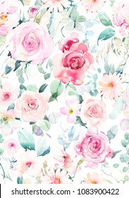Hand painted watercolor allover seamless rose and daisy flowers with leaf on a white background in repeat