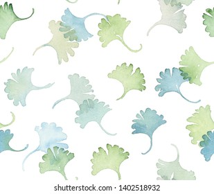 Hand painted watercolor allover seamless ginkgo biloba (also know as maidenhair tree, ginko or gingko) leaf in repeat on a white background