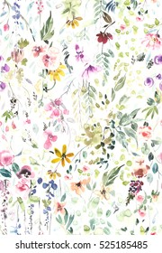 Hand painted watercolor allover seamless flowers and plants