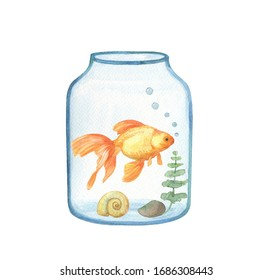 Hand painted watercolor aquarium gold small fish