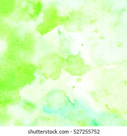 Hand painted watercolor background. Abstract texture. Green, blue.