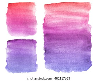 Hand painted watercolor background. Watercolor gradient. Pink, purple, blue. Isolated background.