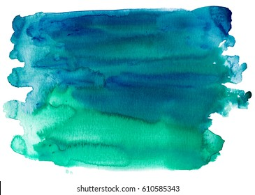 Hand painted watercolor background graduating from blue to green.