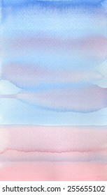 Hand painted watercolor background texture in blue and pink.