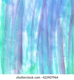 Hand painted watercolor background. Watercolor wash. white, green, acid, lilac. lavender, blue, purple