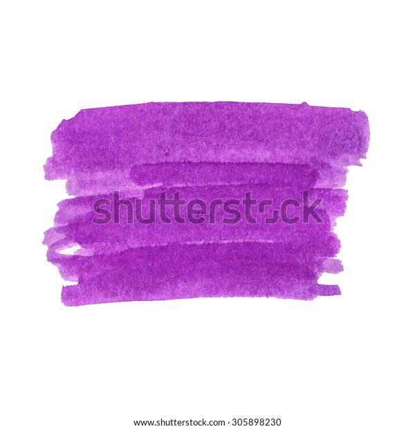 Hand painted watercolor background. Watercolor wash.Purple paint stain isolated on white.