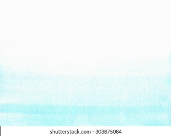 Hand painted watercolor background. Watercolour wash. Blue, aquamarine, turquoise, green, mint gradient.