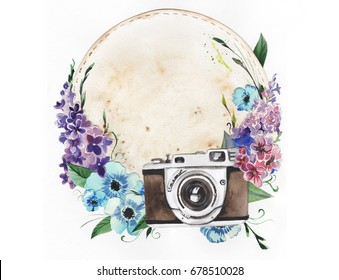 Hand painted watercolor base of a logo for a photographer with a vintage camera and bright flowers