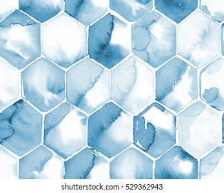 Hand painted watercolor blue cyanotype hexagon honeycomb allover seamless pattern