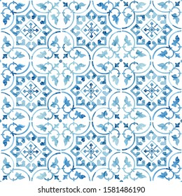 Hand painted watercolor blue faience floral arabesques azulejo tile allover seamless pattern