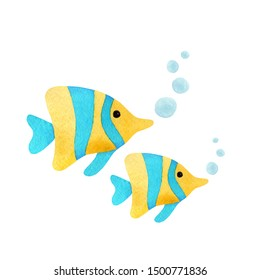 Hand painted watercolor blue and yellow fish.  Watercolor illustration.
