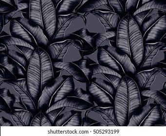 hand painted watercolor botanical leaves pattern, seamless tropical pattern, ornament for interior,textile design, vintage dark indigo design