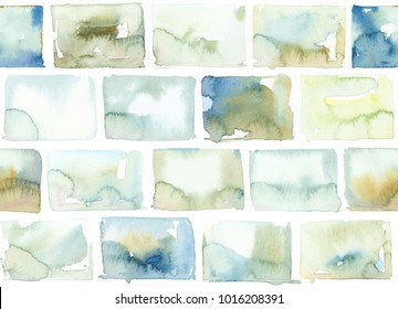 Hand painted watercolor brick allover seamless pattern