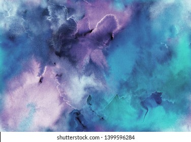 Hand painted Watercolor bright seamless pattern with abstract sky, galaxy, cosmos and luminescence. Texture for textiles, packaging, greeting cards, scrapbooking.