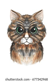 Hand painted watercolor brown cat with green eyes