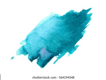 hand painted watercolor brush stroke stain, isolated on white background, trendy abstract element
