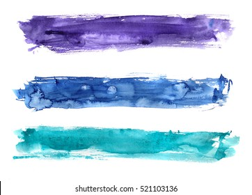 hand painted watercolor brushstroke stripes in purple, blue, turquoise colors; isolated on white
