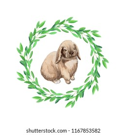Hand painted watercolor bunny in eucalyptus wreath illustration isolated on white background. Concept for card, children illustration, nursery decor, textile, scrapbooking and stationery design.