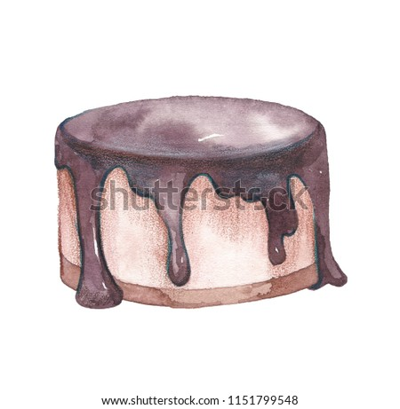 Hand Painted Watercolor Cake Isolated Easy Stock Illustration