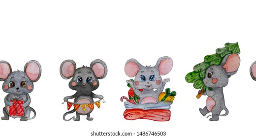 Hand painted Watercolor characters mouse seamless border. Cute Christmas mouse. Isolated on white background for invitation, design, print, card,washi tape