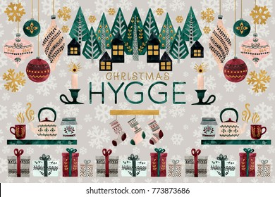 hand painted watercolor christmas design. scandinavian cozy hugge poster for christmas party.