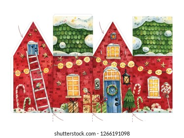Hand painted watercolor Christmas house template for creating your own 3-d Christmas decoration. Cut and glue the Christmas house template with candies, gifts and snow.