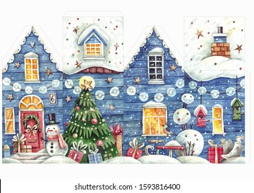 Hand painted watercolor Christmas house template for creating your own 3-d Christmas decoration. Cut and glue the Christmas house template with Christmas tree, gifts and snow.