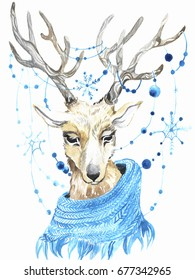 Hand painted watercolor deer with blue snowflakes