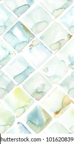 Hand painted watercolor diamond allover seamless pattern