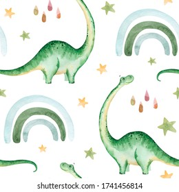 Hand painted watercolor dinosaurs pattern, on a white background.