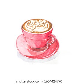 Hand painted watercolor drawing red or pink ceramic cup of hot coffee milk or coffee latte art with hearts shape pattern of milk foam on ceramic plate or dish with white background, isolate