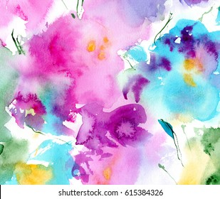 hand painted watercolor floral abstraction in pink, turquoise blue and green colors; spring or summer background