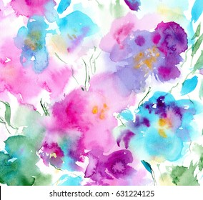 hand painted watercolor floral card in pink, turquoise and purple colors; summer or spring background