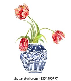 Hand Painted Watercolor Floral Illustration Flower Arrangements Tulip Bouquet in Chinese Blue and White Ginger Jars Small Composition on White Background