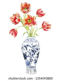 Hand Painted Watercolor Floral Illustration Flower Arrangements Tulip Bouquet in Chinese Blue and White Ginger Jars