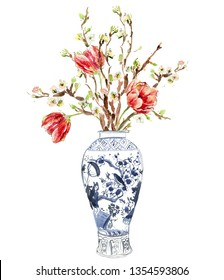 Hand Painted Watercolor Floral Illustration Flower Arrangements Tulip Bouquet in Chinese Blue and White Ginger Jars Clip Art Blooming Tree Branches