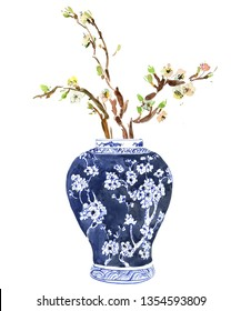 Hand Painted Watercolor Floral Illustration Flower Arrangements Tulip Bouquet in Chinese Blue and White Ginger Jars Floral Composition Blooming Tree Branches