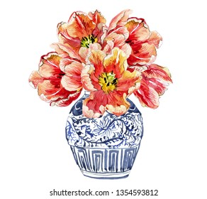Hand Painted Watercolor Floral Illustration Flower Arrangements Tulip Bouquet in Chinese Blue and White Ginger Jars Floral Composition